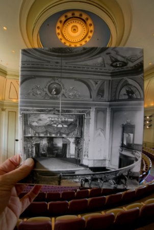New / Old photo of Washington Hall Mainstage Theatre, university of notre Dame